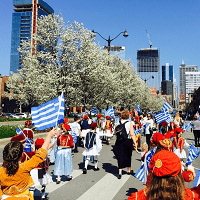 Kids in Chicago Greek parade speak Greek